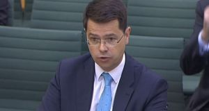 Northern Ireland Secretary James Brokenshire speaking  in  London, where he said  powersharing talks between the DUP and Sinn Féin have stalled. Photograph: PA