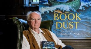 Philip Pullman launching The Book of Dust trilogy  in his native Oxford yesterday. Photograph: Ant Upton