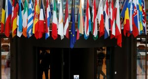 Flags of EU members in the atrium of the European Council ahead of a two-day EU leaders' summit in Brussels. Photograph: François Lenoir/Reuters