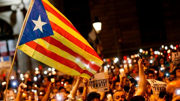 A Catalan pro-independence demonstration in Barcelona. Photograph: Pau Barrena/AFP/Getty Images