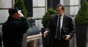 Spanish prime minister Mariano Rajoy arrives at the parliament in Madrid on Wednesday. Photograph: Juan Medina/Reuters