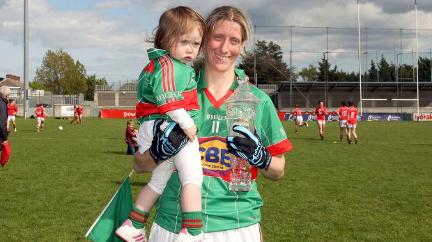 Staunton with her niece Aoife Conroy after the 2012 league final victory over Galway. Photo: Ryan Byrne/Inpho