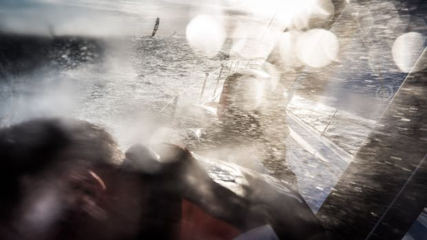 Nicolai Sehested and Tom Johnson of Team Vestas Wind struggle on the foredeck in 201. Photo: Brian Carlin/Team Vestas Wind/Volvo Ocean Race via Getty Images