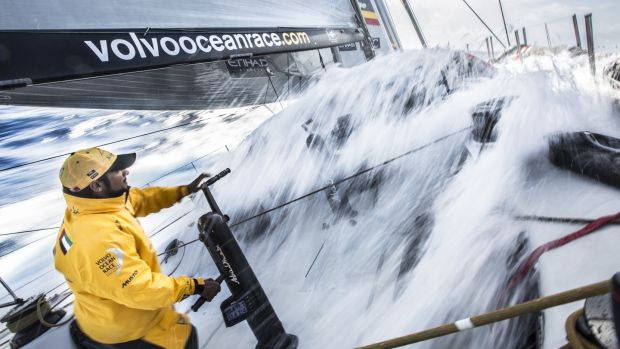 Adil Khalid onboard Abu Dhabi Ocean Racing faces a wall of water in 2015. Photo: Matt Knighton/Abu Dhabi Ocean Racing/Volvo Ocean Race via Getty Images