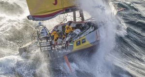 Abu Dhabi Ocean Racing tackles steep and angry seas as they pass East Cape, the eastern-most point of New Zealand in 2015. Photograph: Ainhoa Sanchez/Volvo Ocean Race via Getty Image