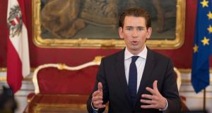 Sebastian Kurz, leader  of the centre-right Austrian People's Party (OVP): likely to bring  Heinz-Christian Strache's far-right Freedom Party into government. Photograph: Alex Halada/AFP/Getty Images