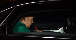 German chancellor Angela Merkel leaves after  talks with potential coalition partners in Berlin on Wednesday. Photograph: Bernd Von Jutrczenka/AFP/Getty Images