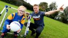 Damien Duff with Sarah Byrne at a Sport Against Racism Ireland event as part of FARE Football People Action Weeks. Photo: Maxwell Photography