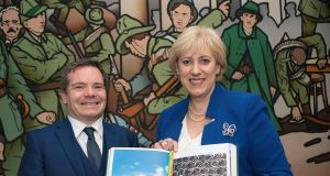 Ronan McGreevy, who edited 'Centenary', and Minister for Culture Heather Humphreys. Photograph: Dave Meehan