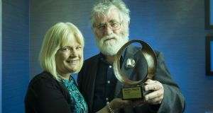 Irish mathematician, research meteorologist, academic and Irish Times columnist, Dr Peter Lynch has been honoured as this year's recipient of the Maths Week Ireland Award for his contribution to raising public awareness of maths, pictured receiving his award from Sheila Donegan of Maths Week Ireland.