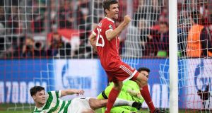 Bayern Munich's Thomas Mueller celebrates scoring against Celtic in their Champions League clash. Photo: Christian Bruna/EPA