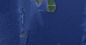 The Irish Times understands that an Irish man has drowned while holidaying on the Maldives island group (above), south of India. File photograph: Google Maps