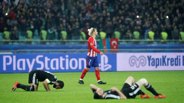Antoine Griezmann at full-time in Atletico's draw with Qarabag. Photo: David Mdzinarishvili/Reuters