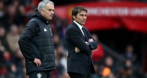 Antonio Conte responded to Jose Mourinho's veiled barb after Chelsea conceded a two-goal lead to draw with Roma. Photograph: Nick Potts/PA