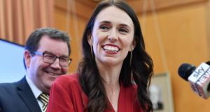 Leader of the Labour Party Jacinda Ardern at a press conference at parliament in Wellington on Thursday, after she agreed a coalition deal with the New Zealand First Party. Photograph: Marty Melville/AFP/Getty Images