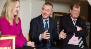 Glanbia managing director Siobhán Talbot, IAG chief executive Willie Walsh and Ardagh Group chairman Paul Coulson at the launch of Boston College's Ireland Business Council. Photograph: Bryan Brophy