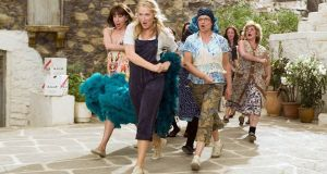 Christine Baranski, Meryl Streep, Julie Walters and some indentured extras in Mamma Mia!