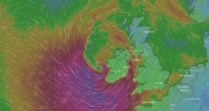 Storm Brian tracks up the west coast of Ireland on Saturday morning. Photograph: windy.com