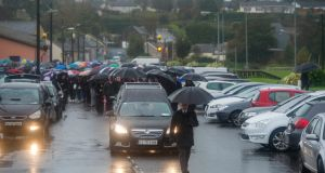 Funeral of Michael Pyke in Ardfinnan, Co Tipperary, on Thursday: his father,  three brothers, seven sisters and partner were among the mourners to gather at the Church of the Holy Family to bid farewell. Photograph:  Michael Mac Sweeney/Provision