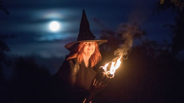 Bláthnaid Ní Chofaigh, Spirits of Meath Ambassador for 2017, lights the first torch fire of Samhain in Athboy signalling the start of Halloween and the Spirits of Meath Halloween Festival 2017.