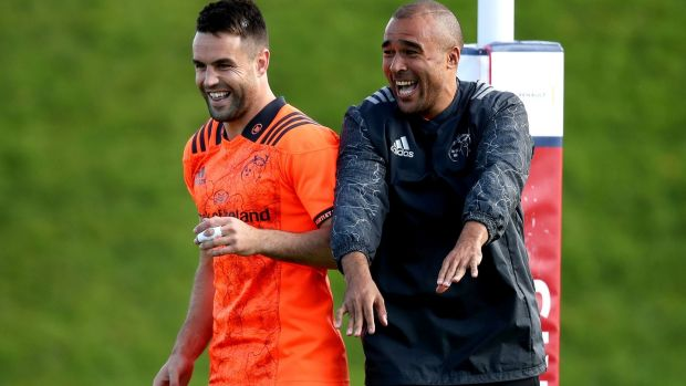 Conor Murray and Simon Zebo share a joke during training this week. Photograph: Bryan Keane/Inpho