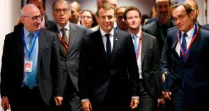 French president Emmanuel Macron arrives at a meeting in Brussels. Photograph: François Lenoir/AFP/Getty Images