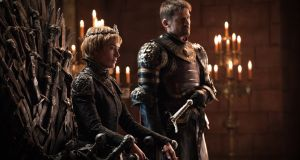 Screen tourism: Cersei (Lena Headey) sits on the Iron Throne, flanked by her brother Jaime (Nikolaj Coster-Waldau), in the seventh series of 'Game of Thrones'