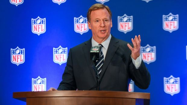 NFL commissioner Roger Goodell speaks to the media after the meeting at the Conrad Hotel. Photo: Catalina Fragoso/USA Today