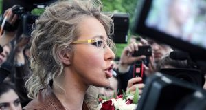 TV host Ksenia Sobchak during a protest in Moscow against the inauguration of Vladimir Putin as president in May 2012. Photograph: Maxim Shipenkov/EPA