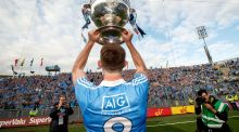 Dublin's Brian Fenton celebrates in front of Hill 16 after winning last year's All-Ireland SFC final. Photo: James Crombie/Inpho