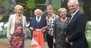 Mayo GAA footballer Cora Staunton and Alan McConnell, coach of Great Western Sydney Giants, at Royal Botanic Garden in Sydney, Australia at a Tourism Ireland event with President Michael D Higgins.