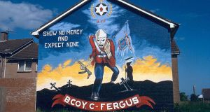 A mural in Dean Park, Carrickfergus,  depicts Eddie, the fictional character on Iron Maiden albums, as a loyalist paramilitary