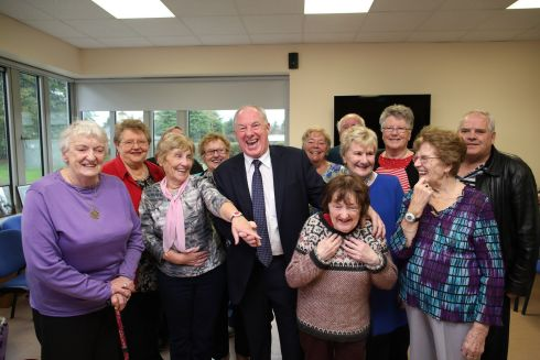 SENIORS ALERT: Minister for Rural and Community Development Michael Ring with participants in the Seniors Alert Scheme for 2018 in Third Age, Summerhill Primary Care Centre, Co Meath. The scheme provides security and peace of mind in their homes to people aged 65 and over. Photograph: Julien Behal Photography