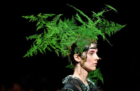 BRANCHING OUT: A model presents a work from a Spring/Summer 2018 collection by Chinese-born designer Viviano Sue during Tokyo Fashion Week in Tokyo, Japan. Photograph: Franck Robichon/EPA