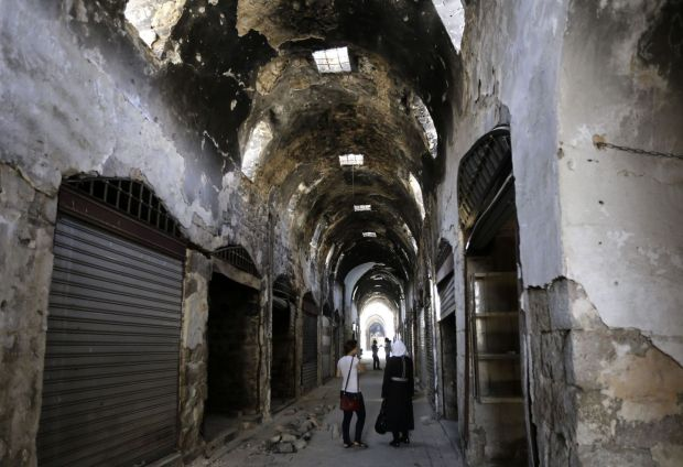 "The souq in the Old City of Homs in August 14, 2016. A UN-backed project has restoref much of the 13th century ancient souk, in the central city, dubbed the ""capital of the revolution"" because of the enormous anti-regime protests that erupted there five years ago. Photograph: Louai Beshara/AFP/Getty"