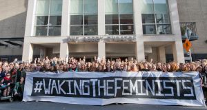 A 'Waking the Feminists' demonstration at the Abbey Theatre highlighting the lack of gender equality in the Abbey's programme of events in 2016. Photograph: Brenda Fitzsimons