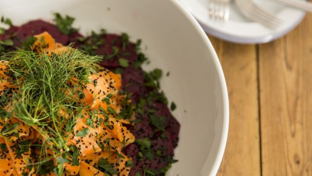 Spiced beetroot and carrot salad with garlic and cardamom. Photograph: Emma Jervis