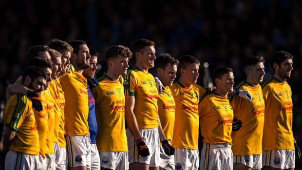 South Kerry players stand together for the national anthem before the 2015 county final at Fitzgerald Stadium, Killarney. Photograph: Cathal Noonan/Inpho