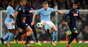 Kevin De Bruyne during Manchester City's Champions League clash with Napoli. Photograph: Gareth Copley/Getty