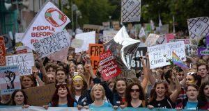 The absence of leading Sinn Féin personalities – or the party's banners – from the March for Choice in Dublin in September was striking. Photograph: Dara Mac Dónaill