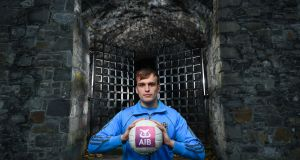 Roscommon footballer Enda Smith pictured the launch of AIB's four-part miniseries, Behind The Gates at St Audoen's Gate in Dublin.  Photograph:  Stephen McCarthy/Sportsfile