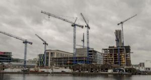 "Construction at Grand Canal Dock in Dublin. The housing problem ""offers the potential for spectacular failure if policy interventions are inappropriate"", Dublin City Council chief executive Owen Keegan said. Photograph: Brenda Fitzsimons"