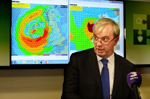 HEAVY WEATHER: Sean Hogan, chairman of the National Emergency Coordination Centre, at a press conference on details of how difficult the approaching Storm Ophelia would be. Photograph: Cyril Byrne/The Irish Times