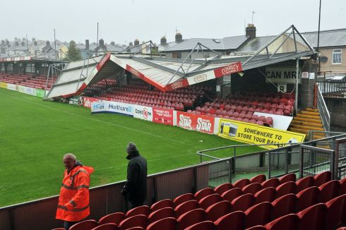 BLOWN AWAY: Ferocious winds collapsed the roof of a stand at Cork City's grounds, Turners Cross, Cork, during Storm Ophelia. Photograph: Daragh Mc Sweeney/Provision