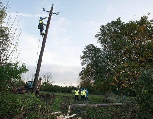 POWER DOWN: Taoiseach Leo Varadkar visits Drumlargan, near Kilcock, Co Kildare, inspecting damage to power lines caused by Storm Ophelia, as ESB Networks staff replace damaged equipment. Photograph: Dave Meehan/The Irish Times