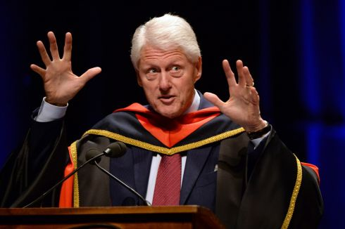 BUILDING PEACE: Bill Clinton speaks after being conferred with an honorary doctorate by Dublin City University, in recognition of his leadership in building and consolidating peace and reconciliation on the island of Ireland. Photograph: Dara Mac Dónaill/The Irish Times