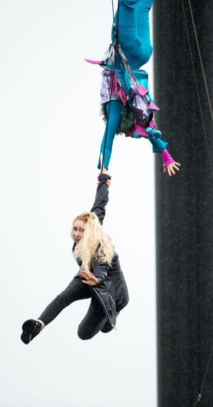 COLLEGE HIGHS: Cat Ryan of Fidget Feet aerial dance theatre plucks Jennifer deBrun from the crowd as more than 10,000 young people attended two successive open days for 2017 on the University of Limerick campus. Photograph: Sean Curtin/True Media