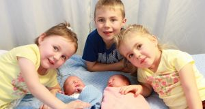 Newborn  twins Sienna and Travis Doherty with their older siblings -  twins Samera and Tameka (age 4) -  and older brother Torin (7). Phogograph: Darren Crossan