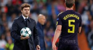 Mauricio Pochettino with Jan Vertonghen: the Tottenham manager has warned Jürgen Klopp's men  to be ready for a change of tactics and formation at Wembley. Photograph: Andrew Couldridge/Reuters