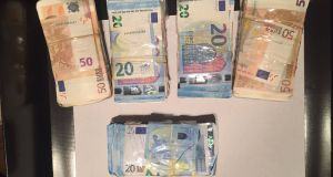 Revenue officers have seized cash  in Cork. File photograph via Garda Press Office.